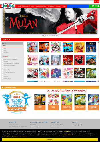 JAKKS Pacific, Inc. Website Screenshot