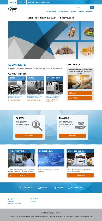John Bean Technologies Corporation Website Screenshot
