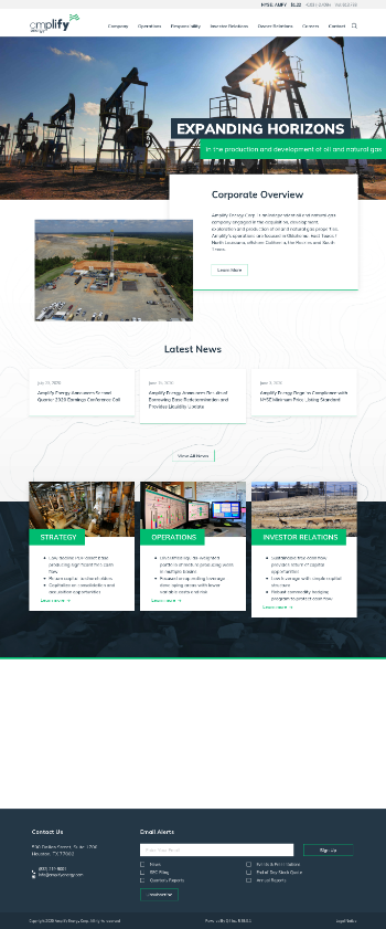 Amplify Energy Corp. Website Screenshot