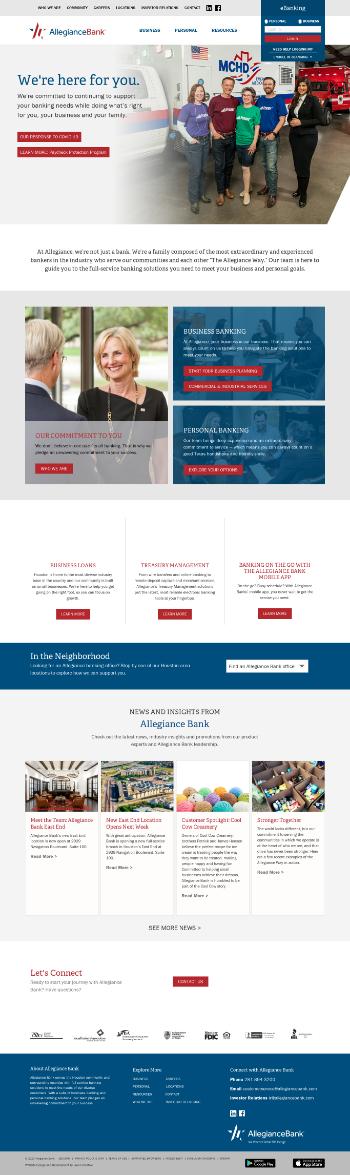 Allegiance Bancshares, Inc. Website Screenshot