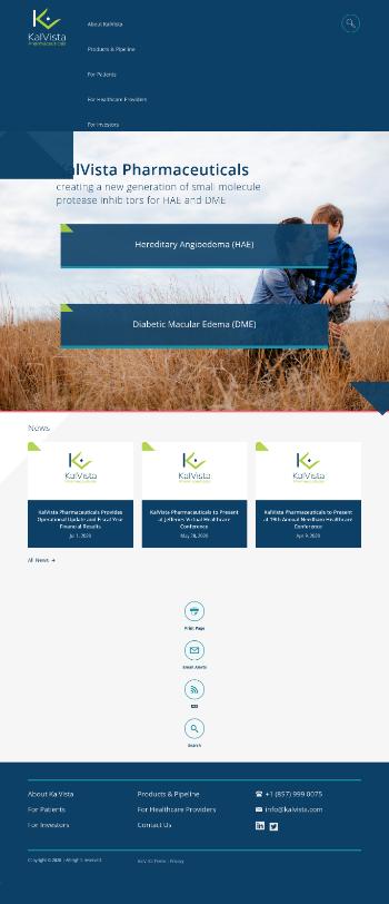 KalVista Pharmaceuticals, Inc. Website Screenshot