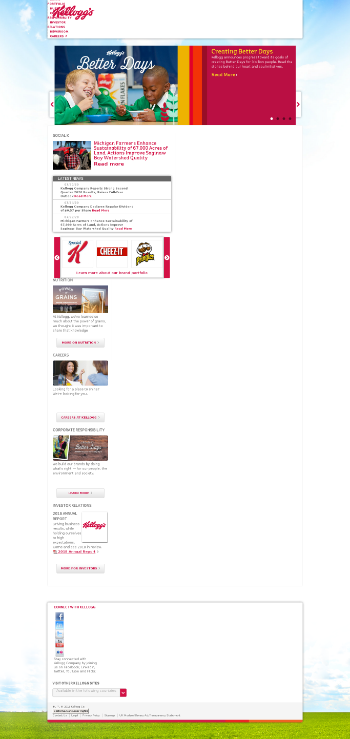 Kellogg Company Website Screenshot