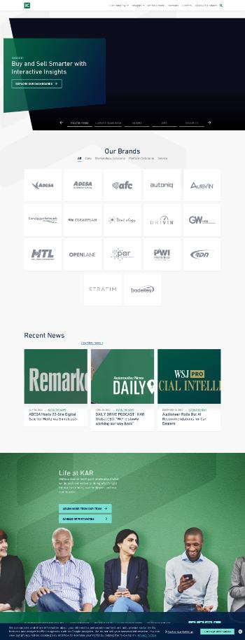 KAR Auction Services, Inc. Website Screenshot