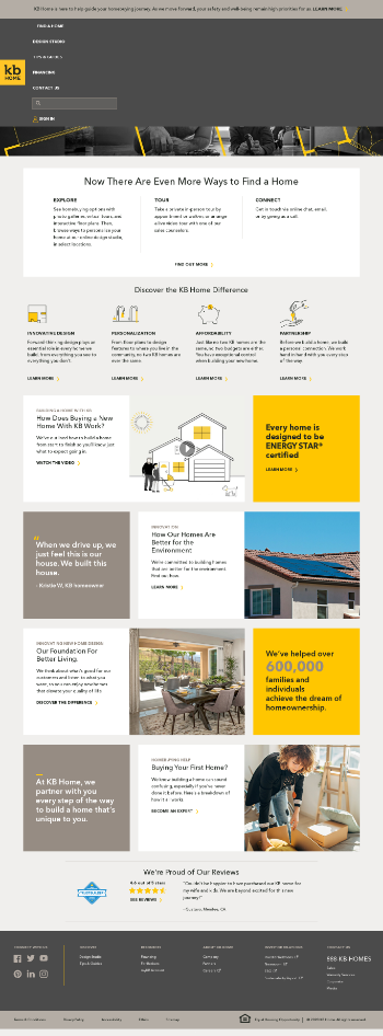 KB Home Website Screenshot
