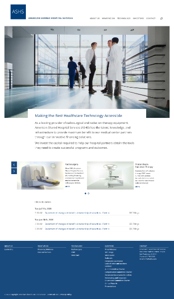 American Shared Hospital Services Website Screenshot