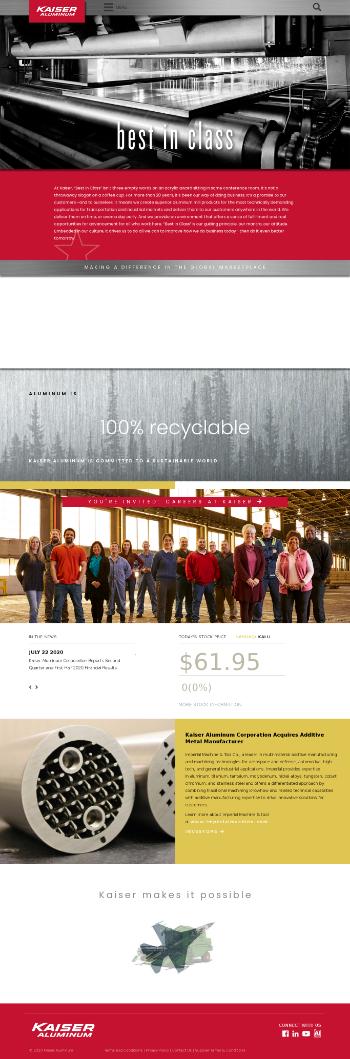 Kaiser Aluminum Corporation Website Screenshot