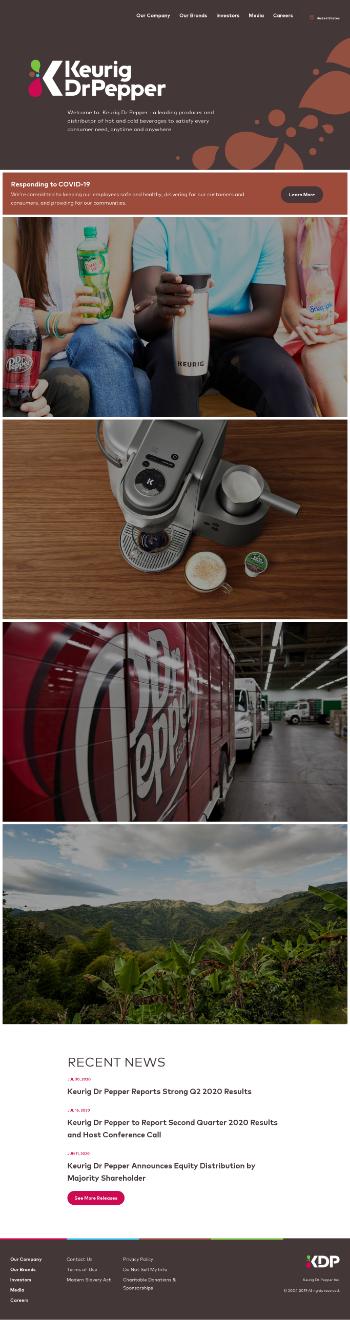Keurig Dr Pepper Inc. Website Screenshot
