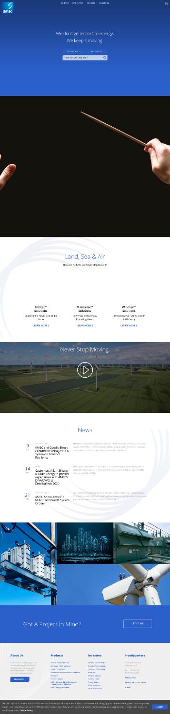 American Superconductor Corporation Website Screenshot