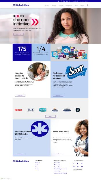 Kimberly-Clark Corporation Website Screenshot