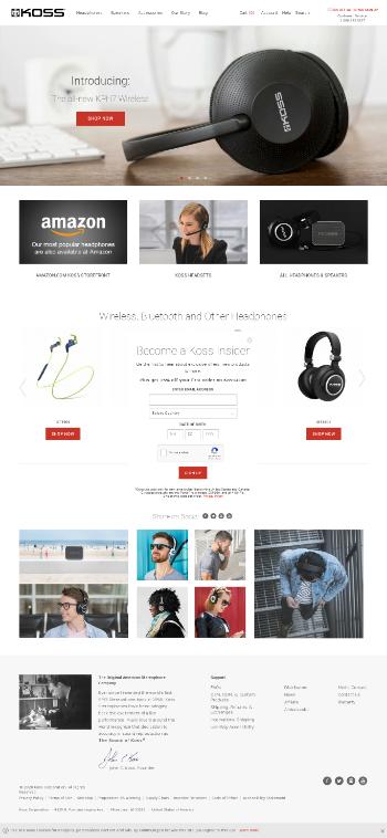 Koss Corporation Website Screenshot