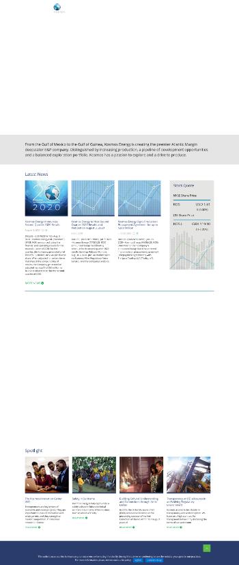 Kosmos Energy Ltd. Website Screenshot