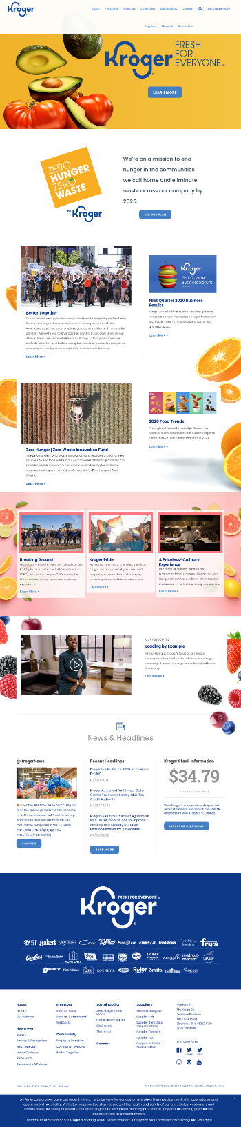 The Kroger Co. Website Screenshot