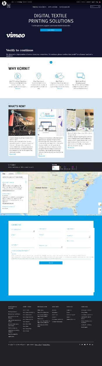 Kornit Digital Ltd. Website Screenshot