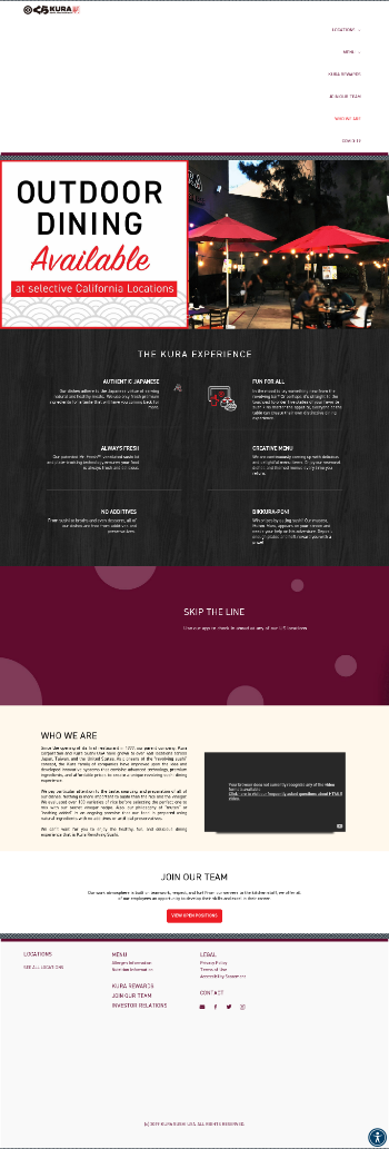 Kura Sushi USA, Inc. Website Screenshot
