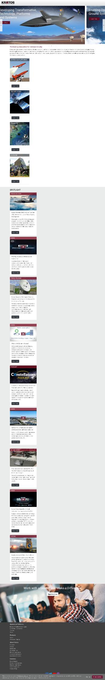 Kratos Defense & Security Solutions, Inc. Website Screenshot