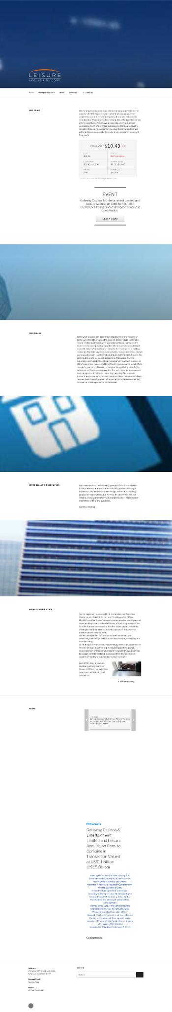 Leisure Acquisition Corp. Website Screenshot