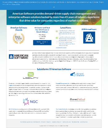 American Software, Inc. Website Screenshot