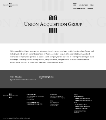 Union Acquisition Corp. II Website Screenshot