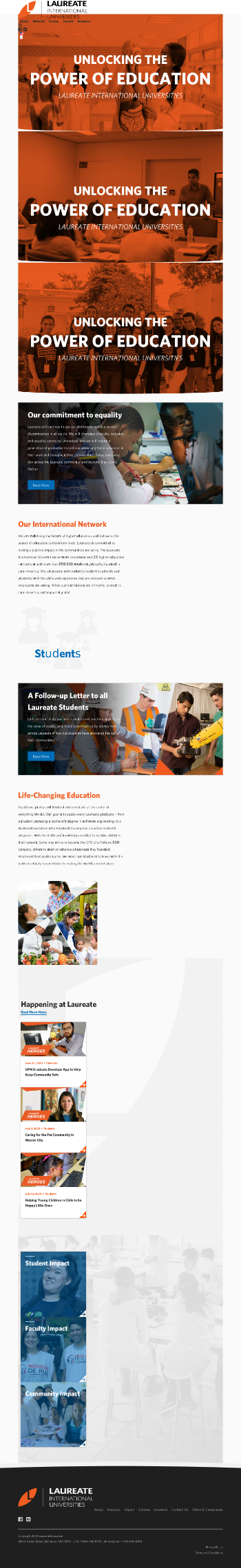 Laureate Education, Inc. Website Screenshot