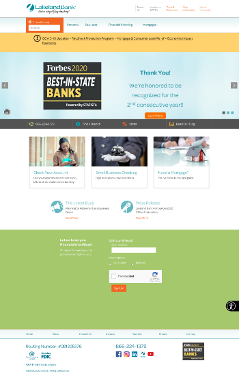 Lakeland Bancorp, Inc. Website Screenshot