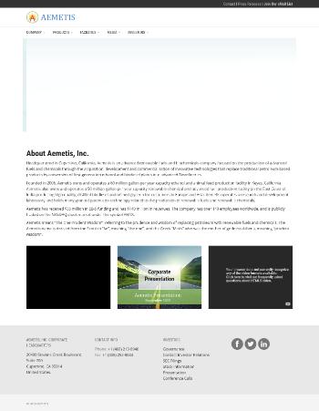 Aemetis, Inc. Website Screenshot