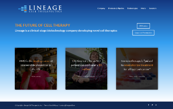 Lineage Cell Therapeutics, Inc. Website Screenshot