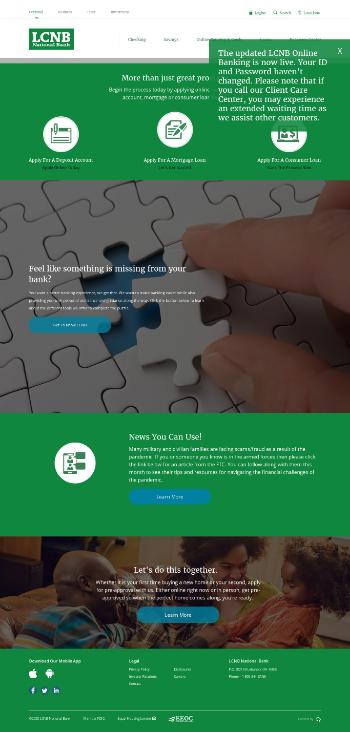 LCNB Corp. Website Screenshot