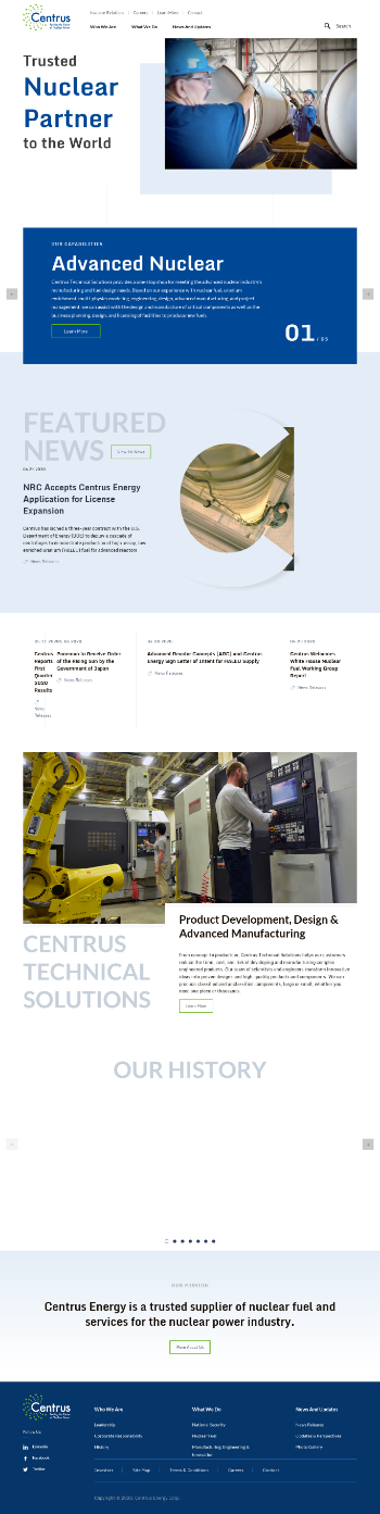 Centrus Energy Corp. Website Screenshot