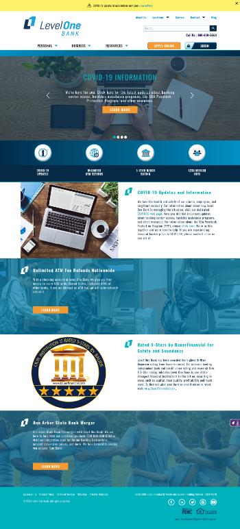 Level One Bancorp, Inc. Website Screenshot