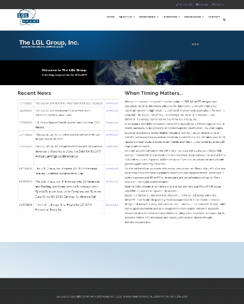 The LGL Group, Inc. Website Screenshot