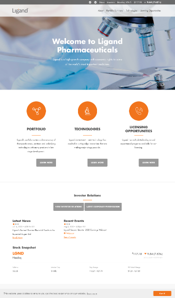 Ligand Pharmaceuticals Incorporated Website Screenshot