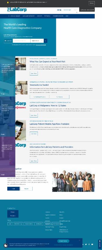 Laboratory Corporation of America Holdings Website Screenshot