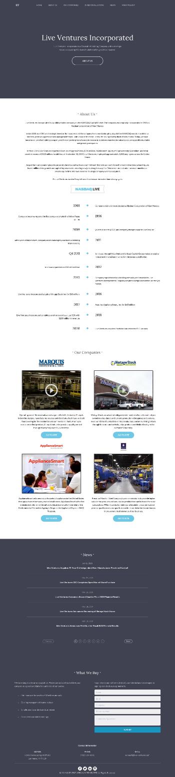 Live Ventures Incorporated Website Screenshot