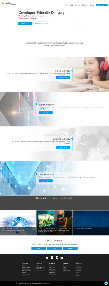 Limelight Networks, Inc. Website Screenshot