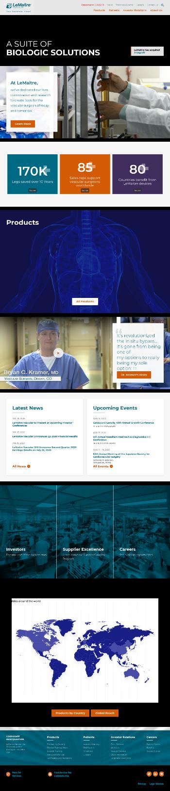LeMaitre Vascular, Inc. Website Screenshot