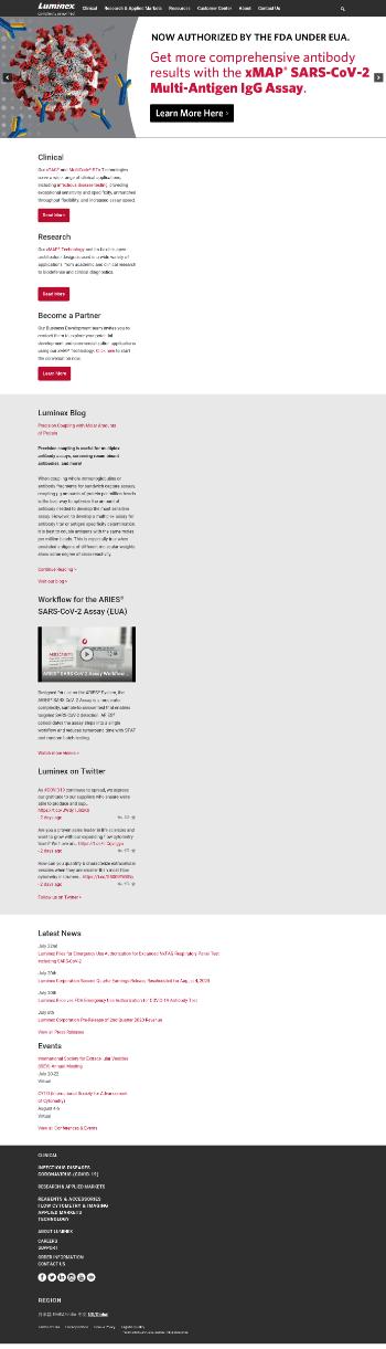 Luminex Corporation Website Screenshot