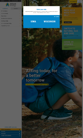 Alliant Energy Corporation Website Screenshot