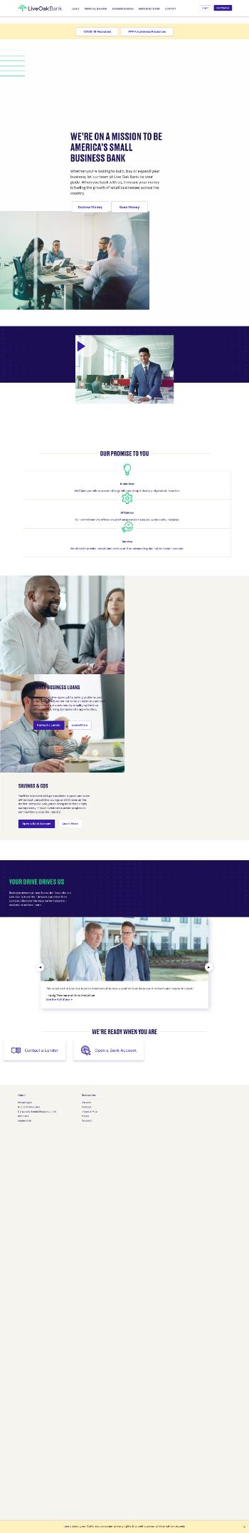 Live Oak Bancshares, Inc. Website Screenshot