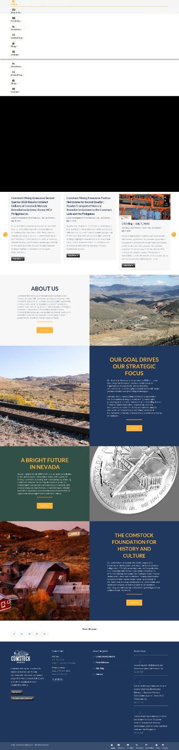 Comstock Mining Inc. Website Screenshot