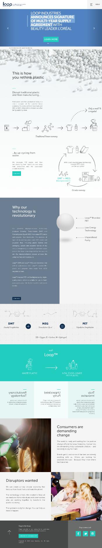 Loop Industries, Inc. Website Screenshot