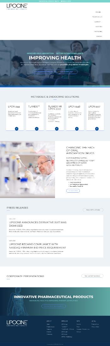 Lipocine Inc. Website Screenshot