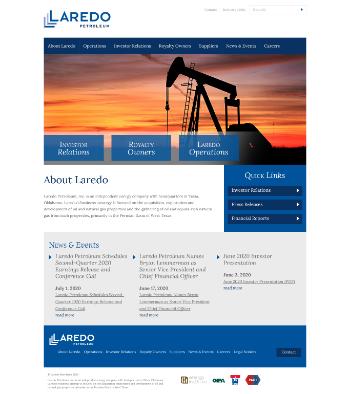 Laredo Petroleum, Inc. Website Screenshot