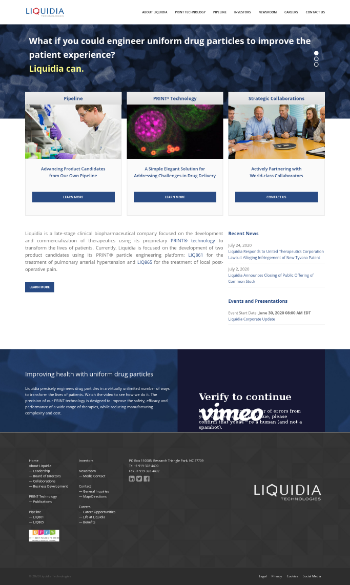 Liquidia Technologies, Inc. Website Screenshot