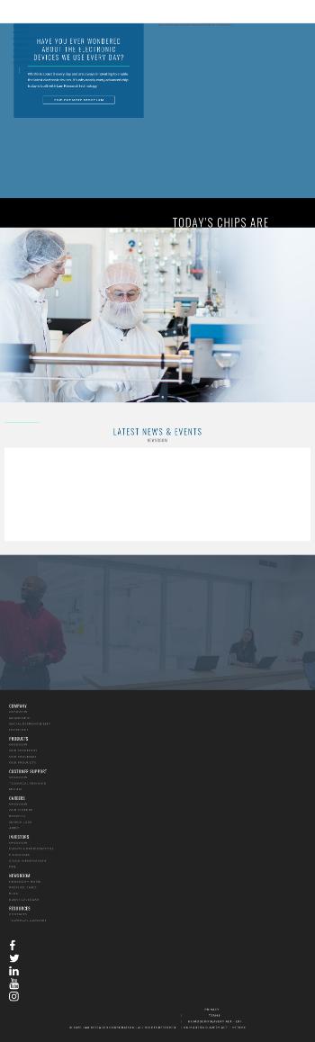 Lam Research Corporation Website Screenshot