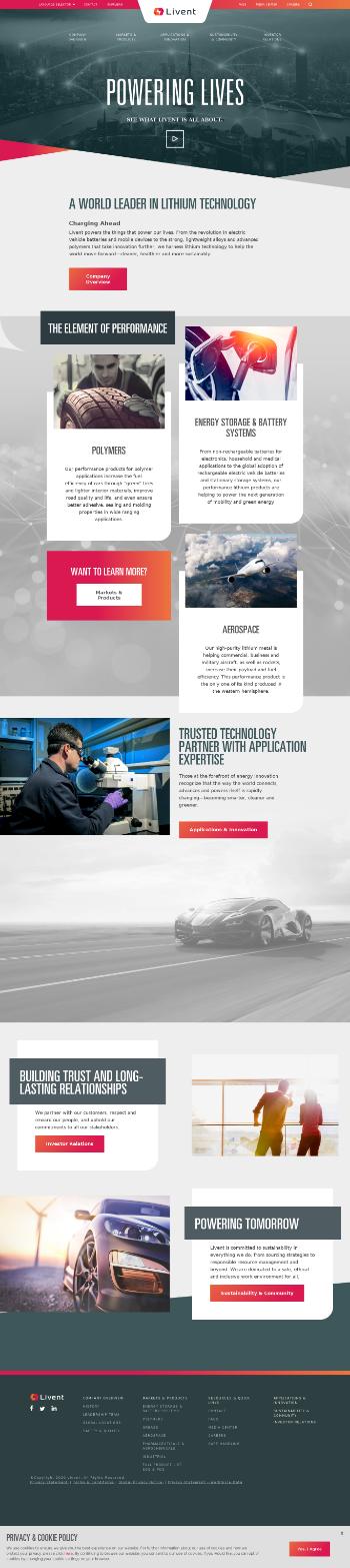 Livent Corporation Website Screenshot