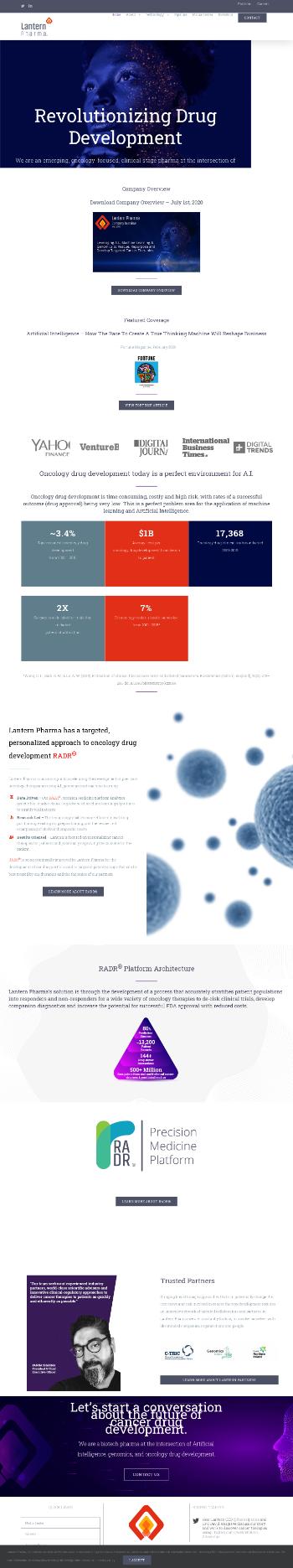 Lantern Pharma Inc. Website Screenshot