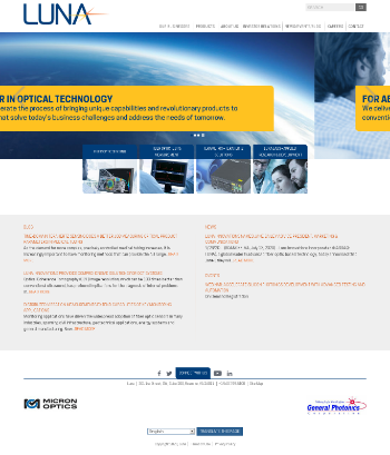 Luna Innovations Incorporated Website Screenshot