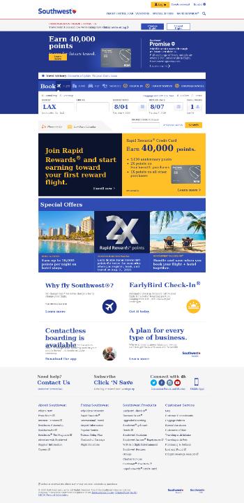 Southwest Airlines Co. Website Screenshot