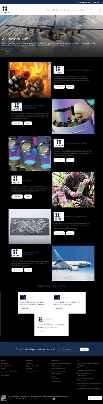 Luxfer Holdings PLC Website Screenshot