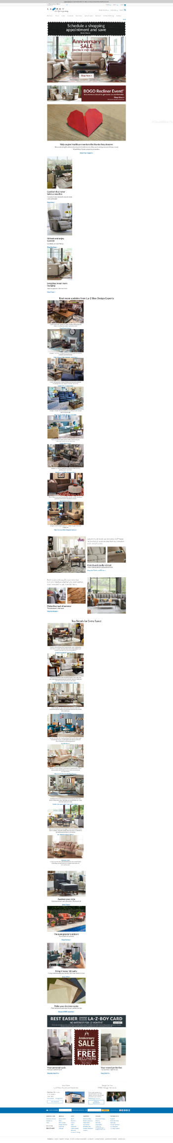 La-Z-Boy Incorporated Website Screenshot